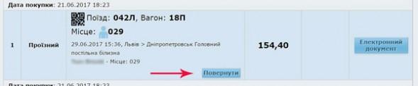 Повернути квиток Укрзалізниця