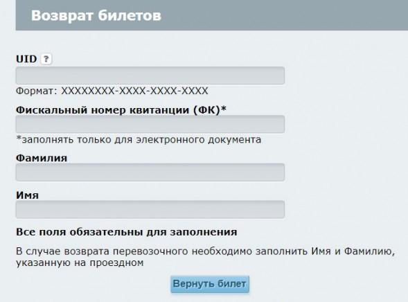 Возврат билетов Укрзализныця